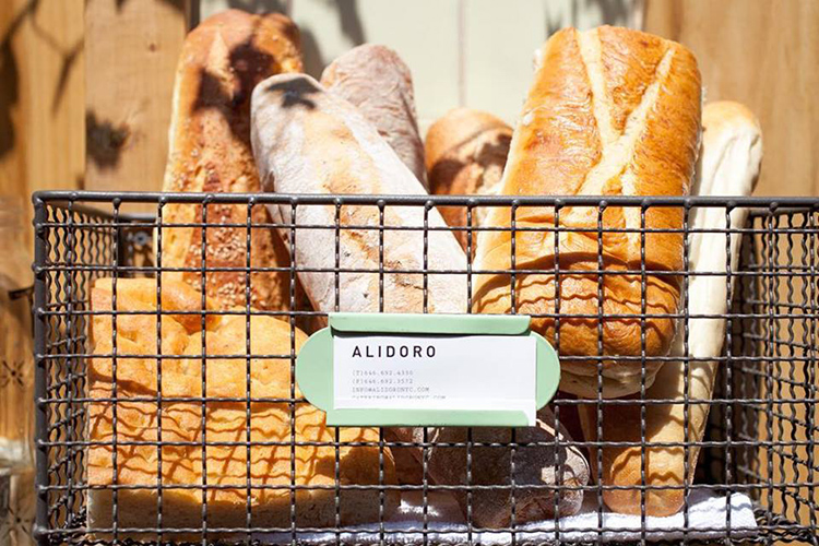 basket of bread at Alidoro restaurant
