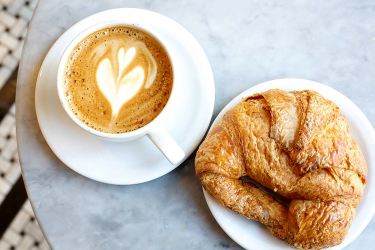 coffee and croissant at Cafe La Cerra
